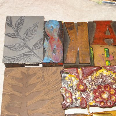 lino, letters & carved wood blocks