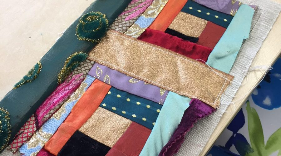 Making something lovely from scraps of silk . . .